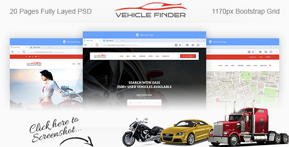 Vehicle Finder and Booking PSD Template Free Templates