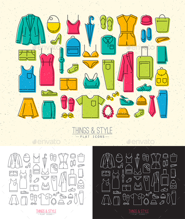 Flat Clothes Icons - Objects Icons