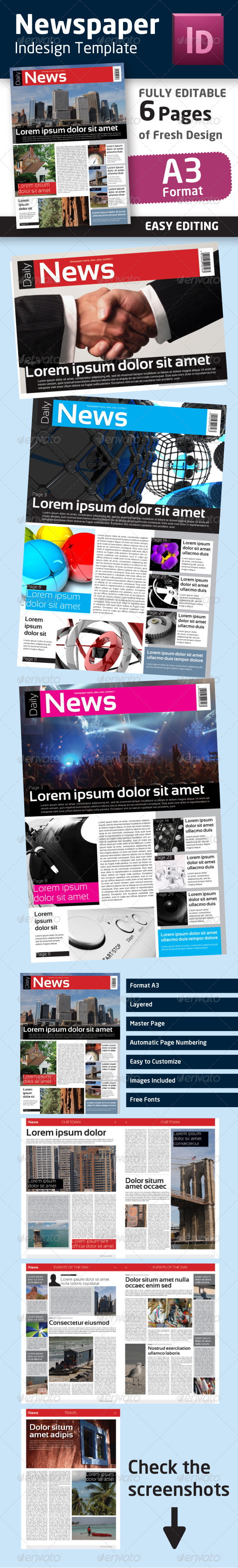 Indesign Newspaper Template in Format A3 - Newsletters Print Templates