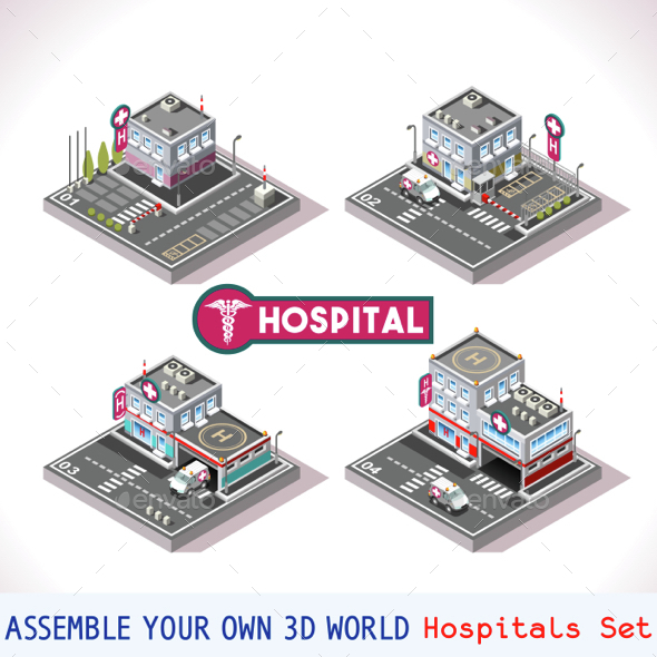 Game Set 15 Building Isometric - Health/Medicine Conceptual