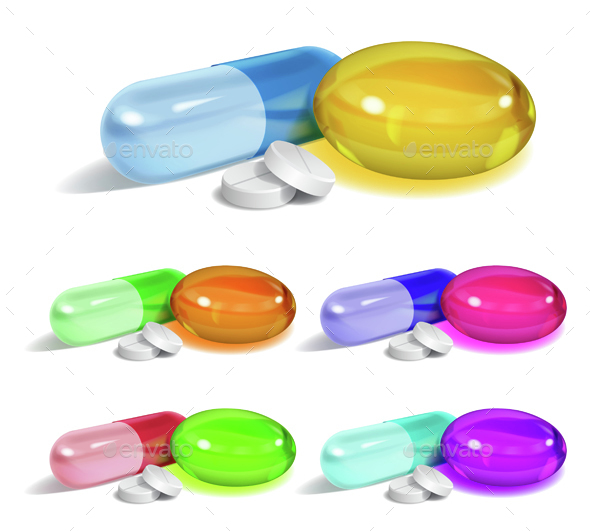 Set of Capsules - Health/Medicine Conceptual