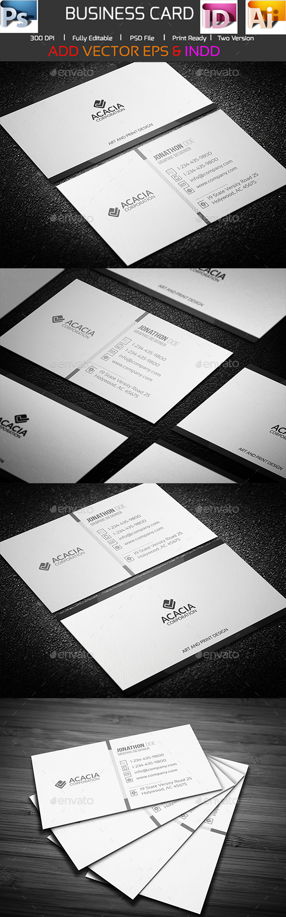 Sleek and Simple Business Card - Corporate Business Cards