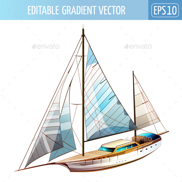 Sailing Yacht Illustration - Man-made Objects Objects