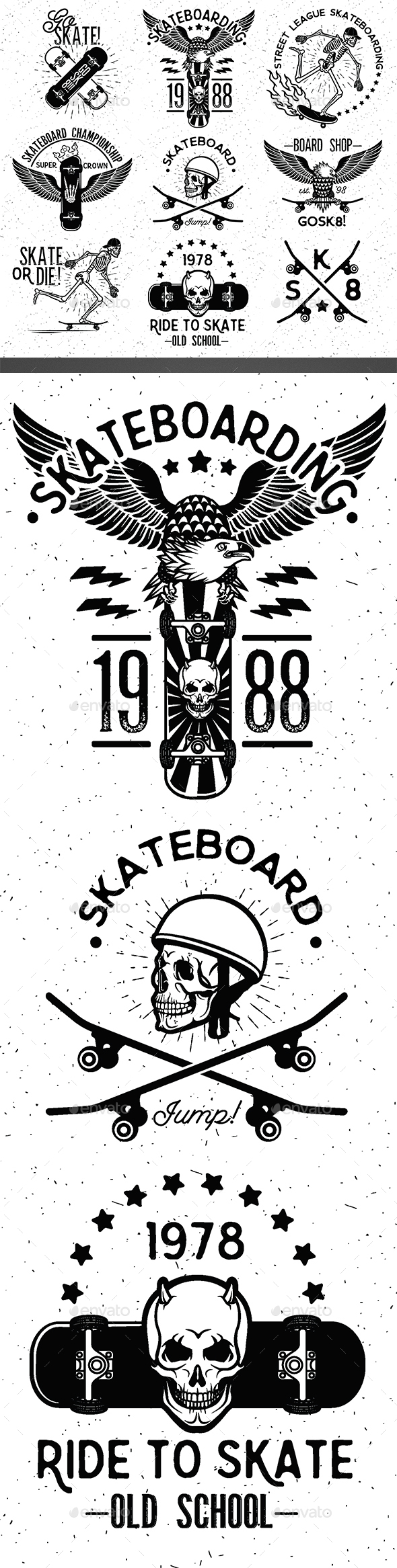 Set of Skateboarding Design Elements - Sports/Activity Conceptual