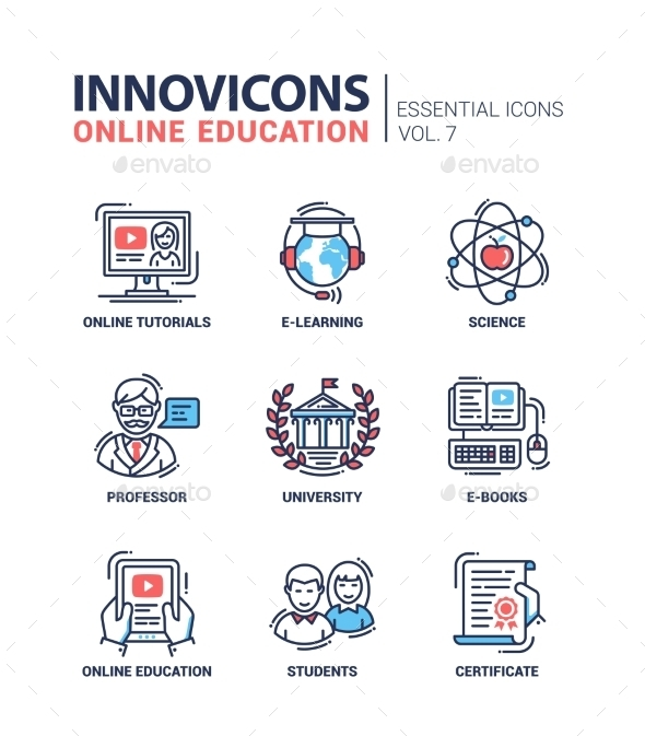 Modern School And Education Thin Line Design Icons - Technology Conceptual
