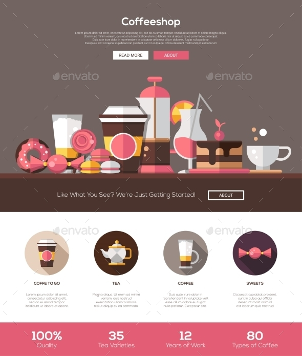 Coffee Shop, Cafe Bakery Website Template - Food Objects
