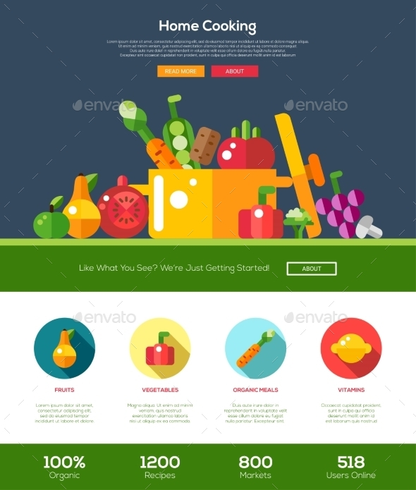 Flat Design Fruits And Vegetables Website Header - Organic Objects Objects