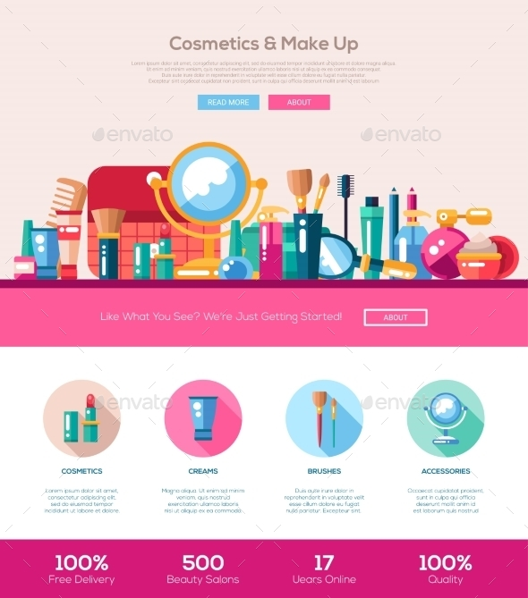 Flat Design Cosmetics, Make Up Iheader Banner - Web Elements Vectors