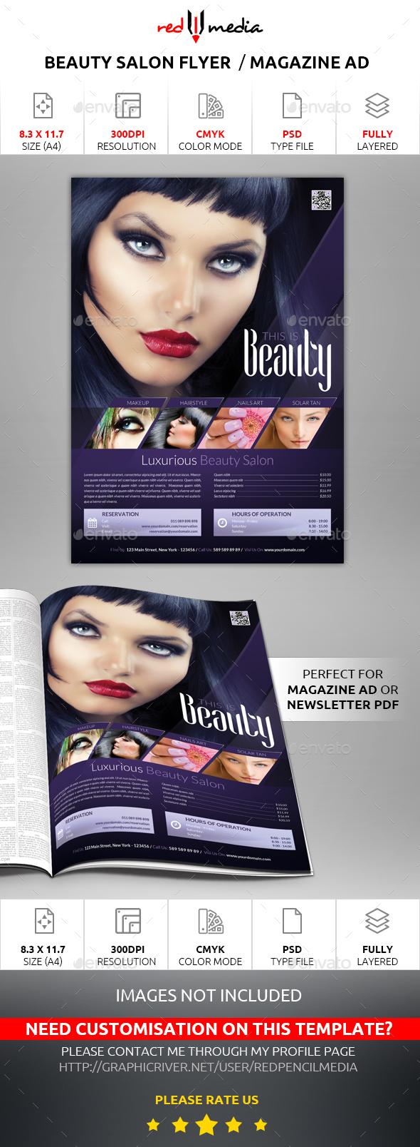 Beauty Salon Flyer / Magazine AD - Commerce Flyers