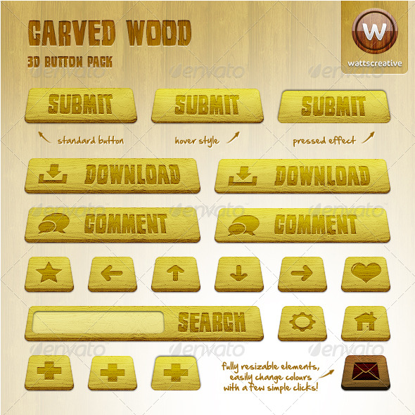 Carved Wood - 3D Button Pack - Buttons Web Elements