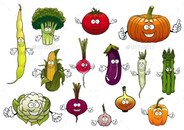 Healthy Cartoon Happy Farm Vegetables - Food Objects
