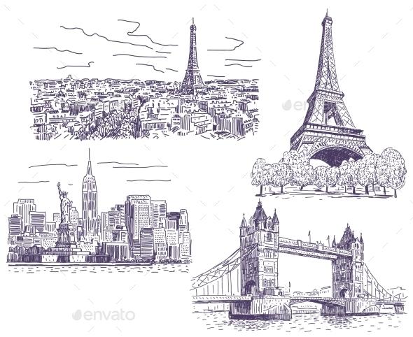 Sightseeings Vector Drawings Set - Travel Conceptual