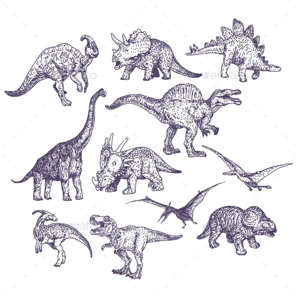 Dinosaurs Vector Drawings Set - Animals Characters