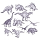 Dinosaurs Vector Drawings Set - GraphicRiver Item for Sale