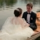 Lovely Bride And Groom Talk And Hold Hands On The Romantic Canoe Trip. Paris Honeymoon - VideoHive Item for Sale