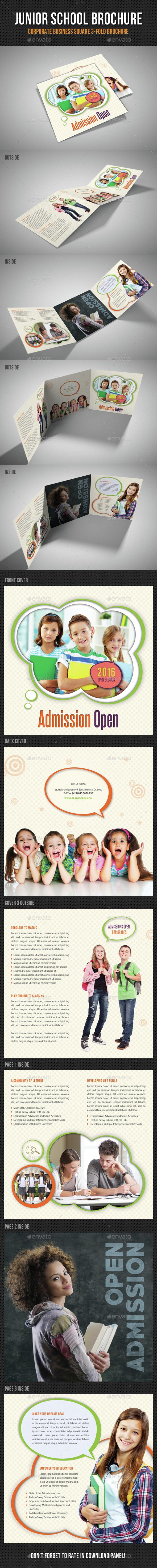 Junior School Square 3-Fold Brochure V03 - Brochures Print Templates