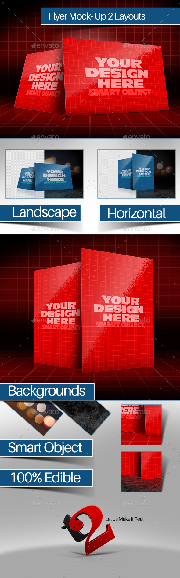 Realistic landscape & Horizontal Flyer Mockup - Product Mock-Ups Graphics