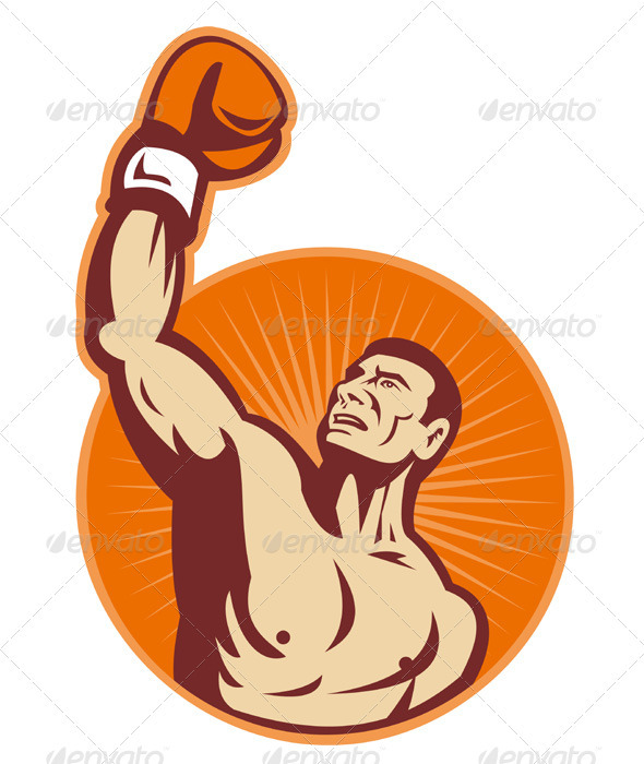 Boxer With Boxing Gloves Retro - People Characters