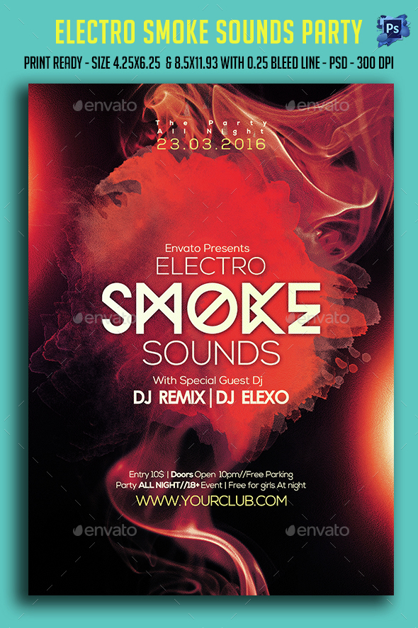Electro Smoke Sounds Party Flyer  - Clubs & Parties Events