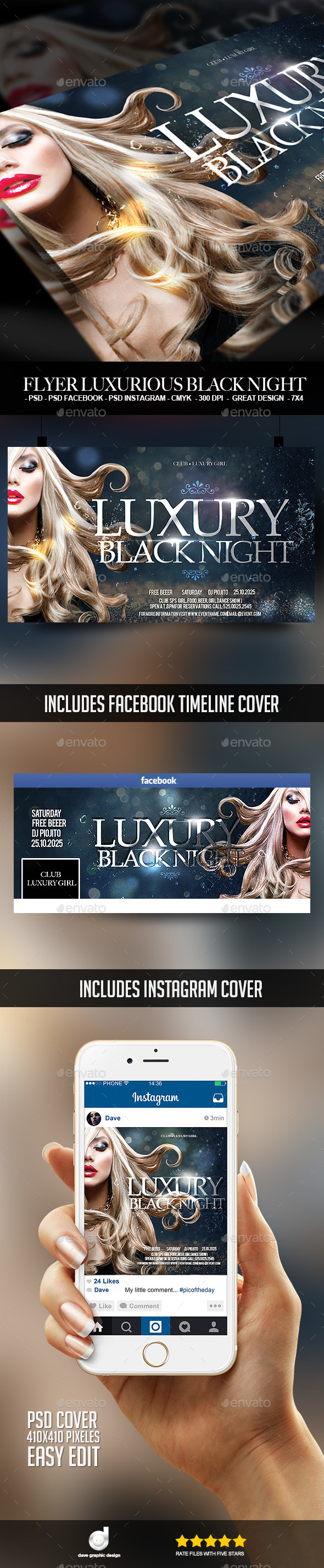 Flyer Luxurious Black Night - Clubs & Parties Events