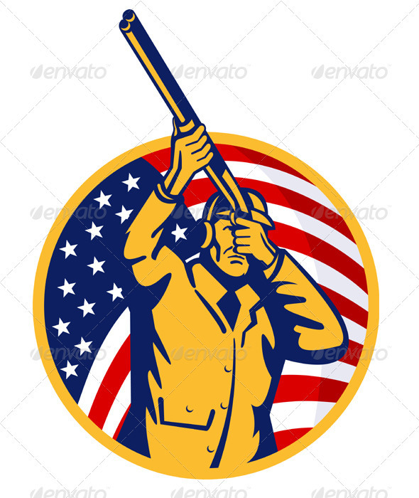 Hunter With Shotgun Rifle American Flag - People Characters