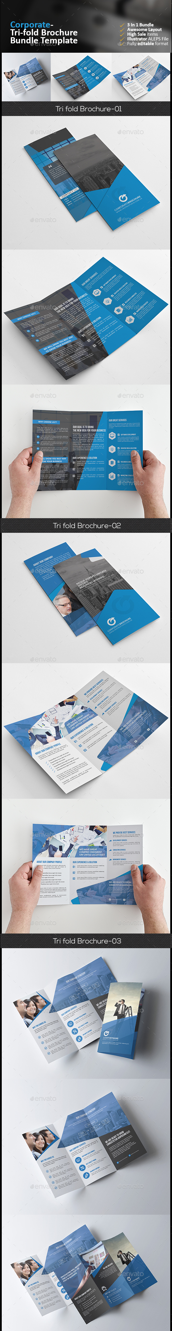 Tri Fold Brochure Bundle 3 in 1 - Corporate Brochures