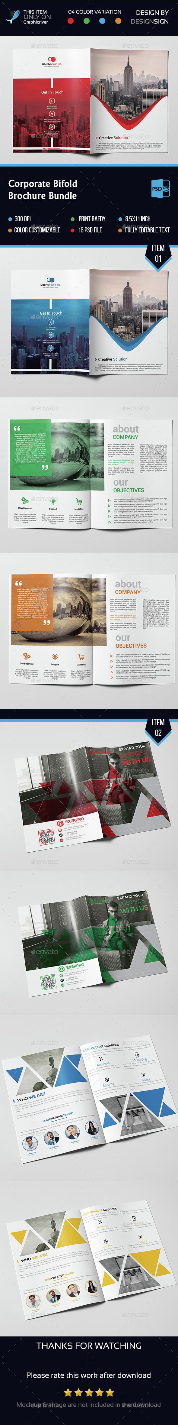 Corporate Bifold Brochure Bundle - Brochures Print Templates