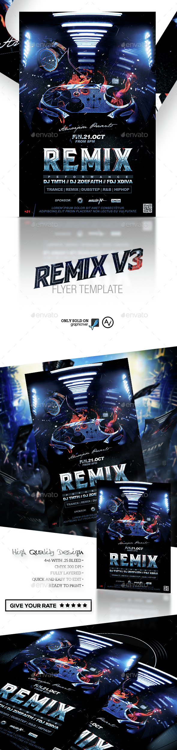 Remix Flyer Template V4 - Clubs & Parties Events