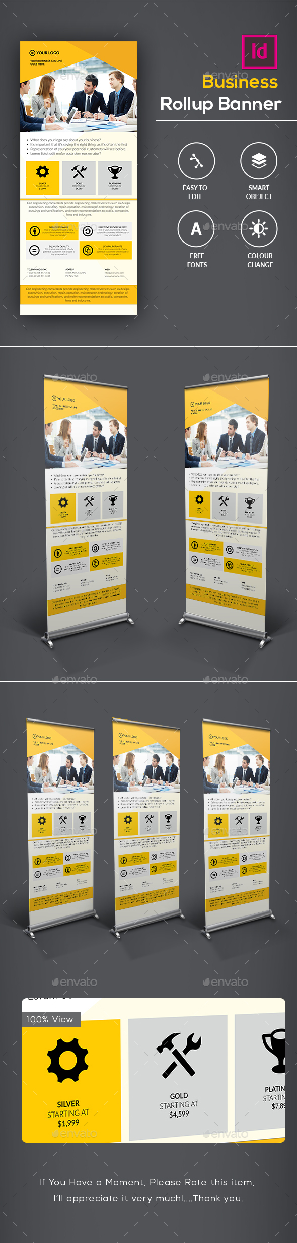 Corporate Business Rollup Banner - Signage Print Templates