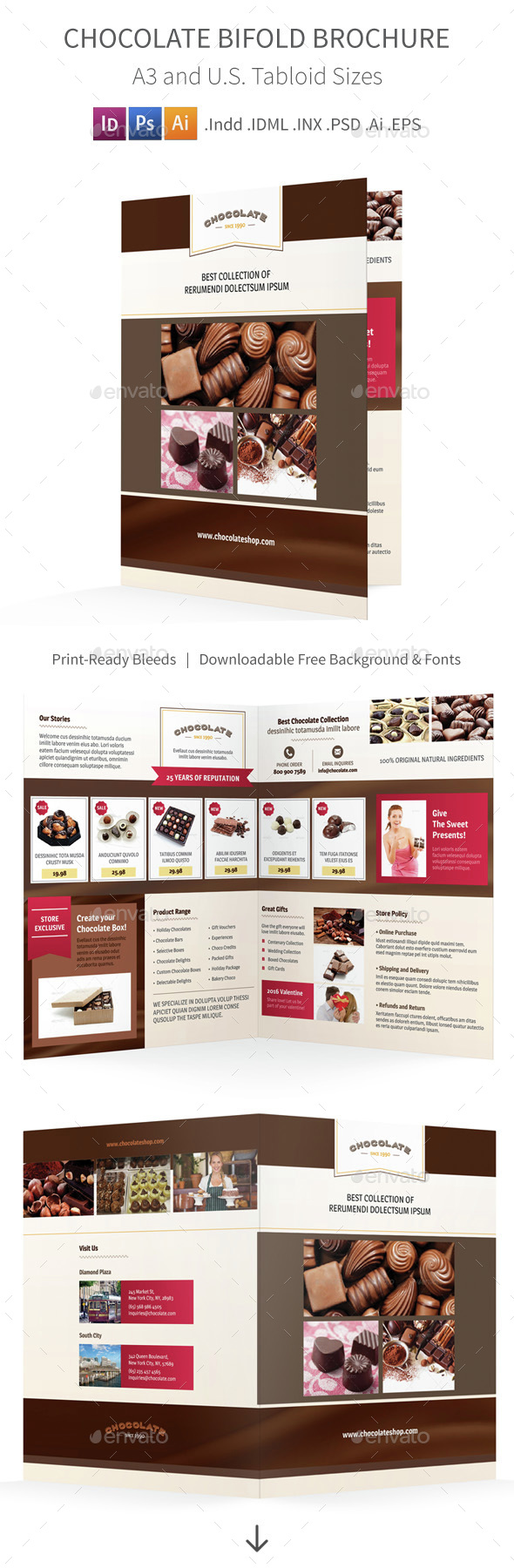 Chocolate Shop Bifold / Halffold Brochure 2 - Informational Brochures