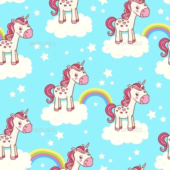 Seamless Pattern with Unicorn - Backgrounds Decorative