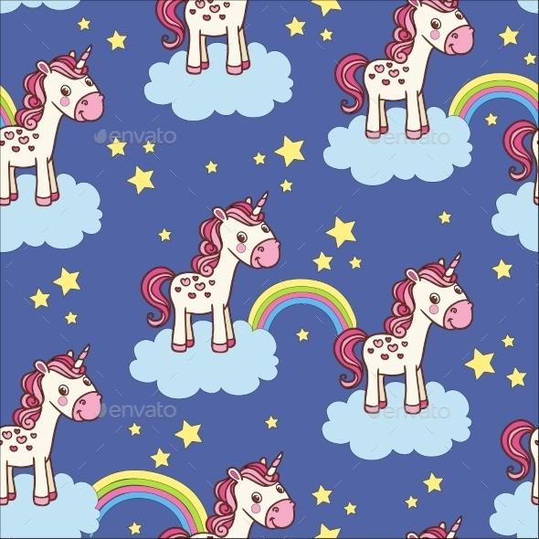 Seamless Pattern with Unicorn - Patterns Decorative