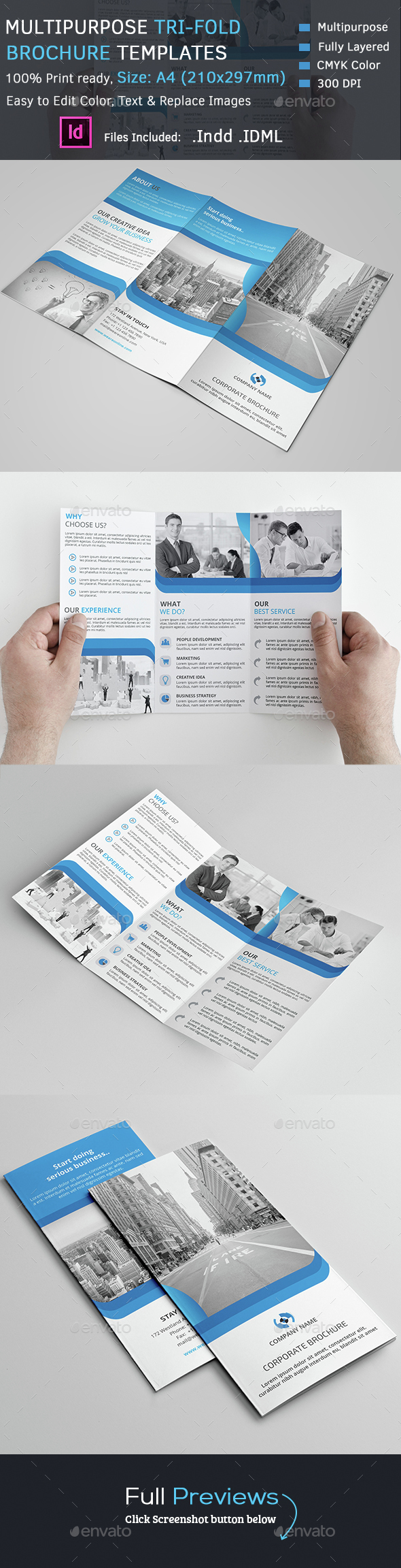 Multipurpose Tri-Fold Brochure - Corporate Brochures