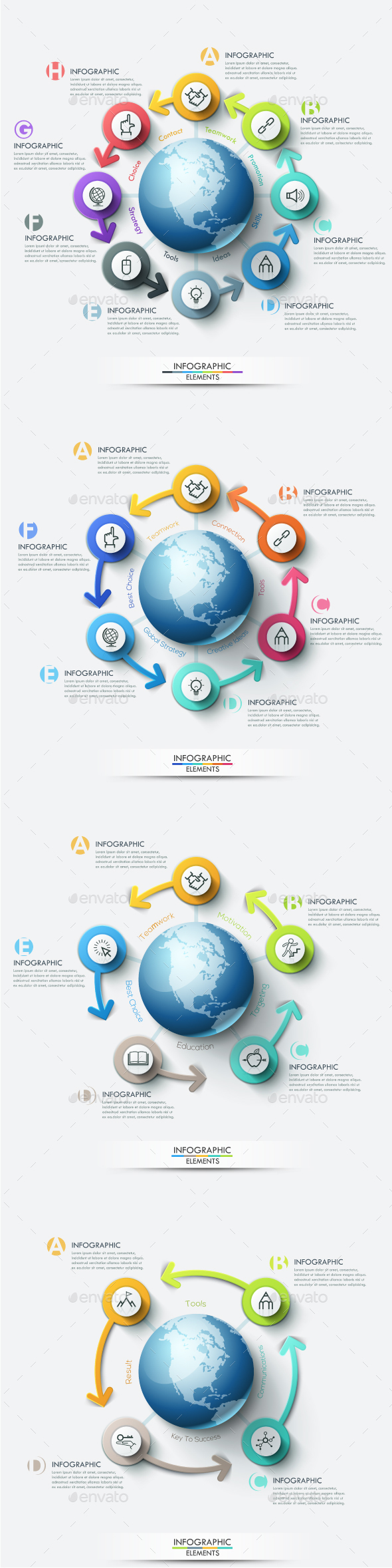 Modern Infographic Global Marketing Templates (4 Items) - Infographics