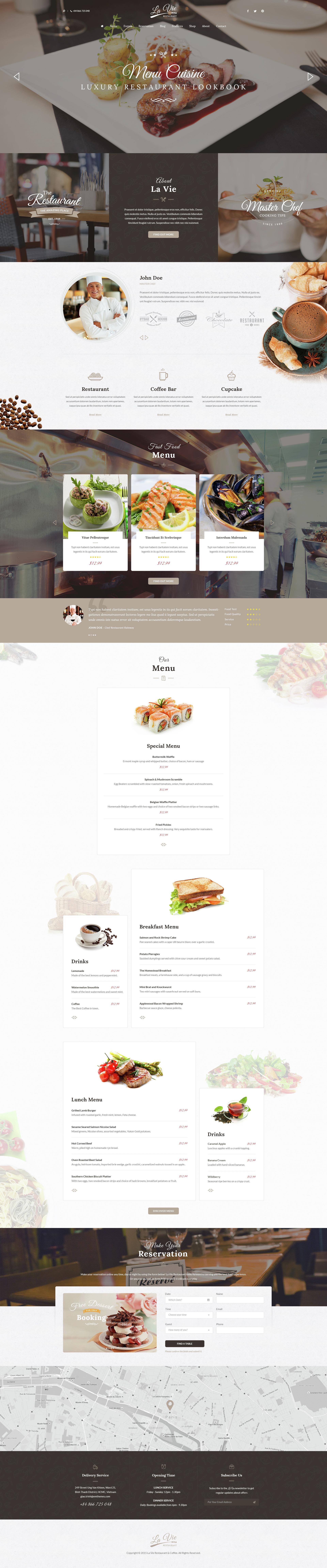 Lavie Restaurant Bar Cafe Responsive Wordpress Theme By Kalathemes