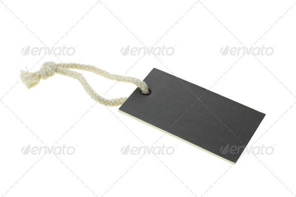 Black blank cardboard paper label - Stock Photo - Images