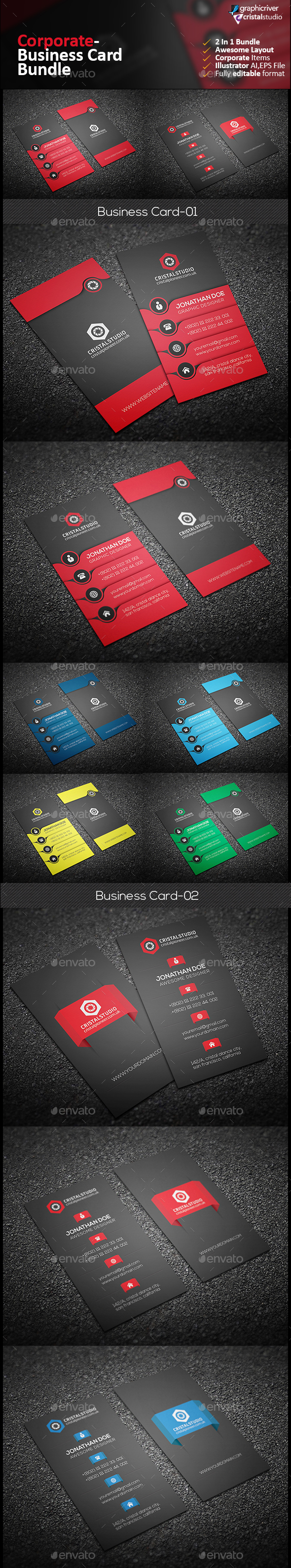 Corporate Business Card Bundle 2 in 1 - Corporate Business Cards