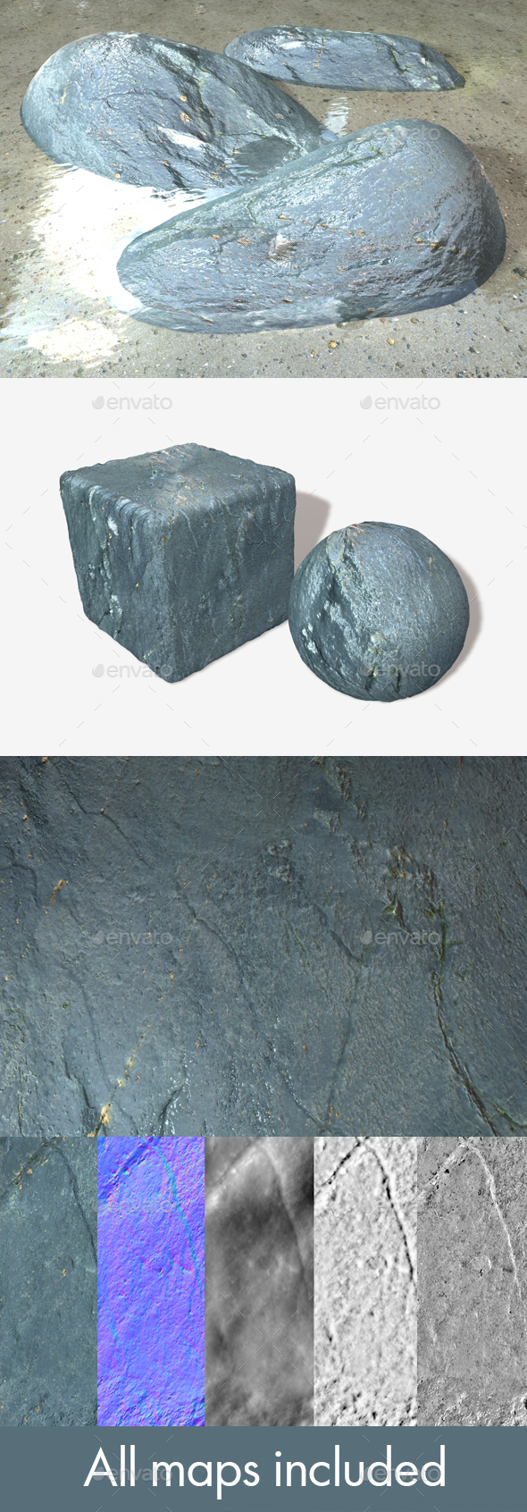Wet Grey Rock Seamless Texture - 3DOcean Item for Sale