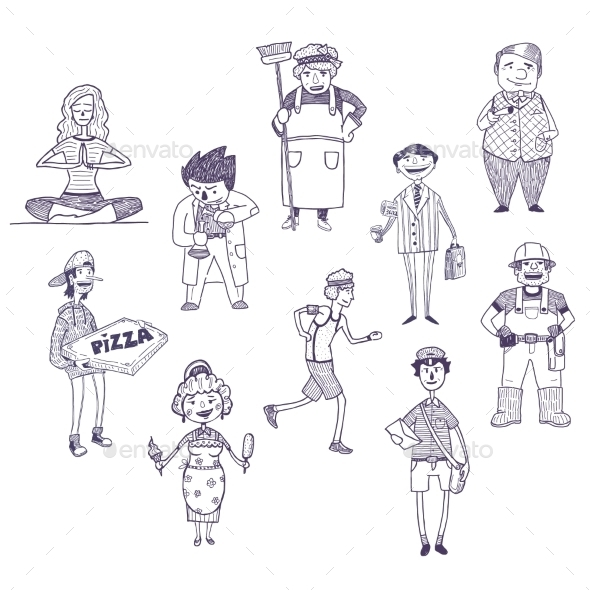 Professions Drawings Set - People Characters