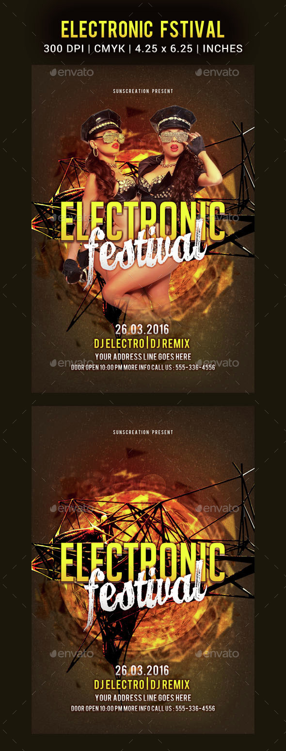 Electronic Festival Party Flyer Template - Clubs & Parties Events
