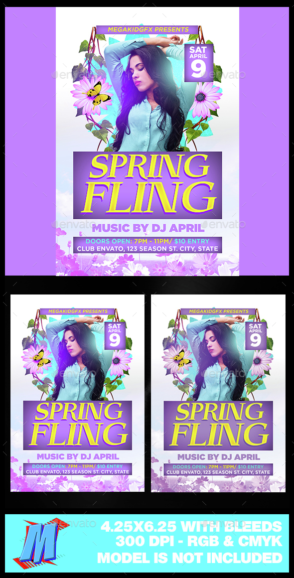 Spring Fling Flyer Template - Clubs & Parties Events