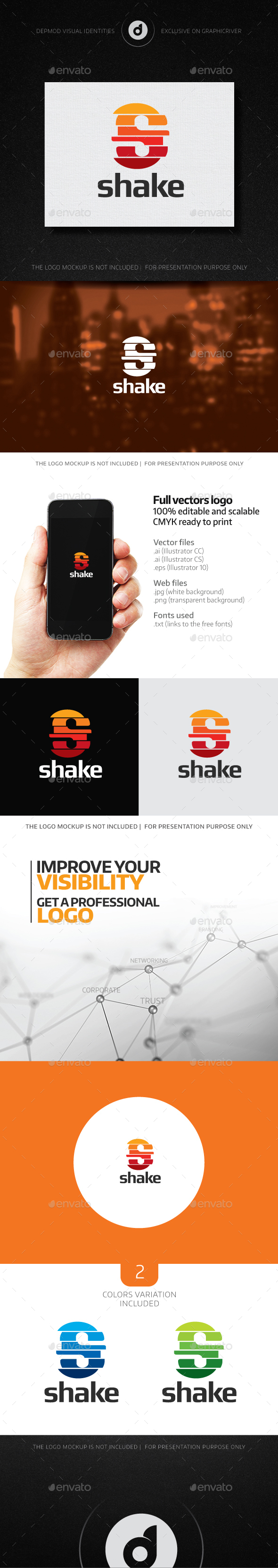 Shake Logo - Letters Logo Templates