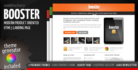 Free Download Booster - Product Focused HTML5 Landing Page Nulled Latest Version