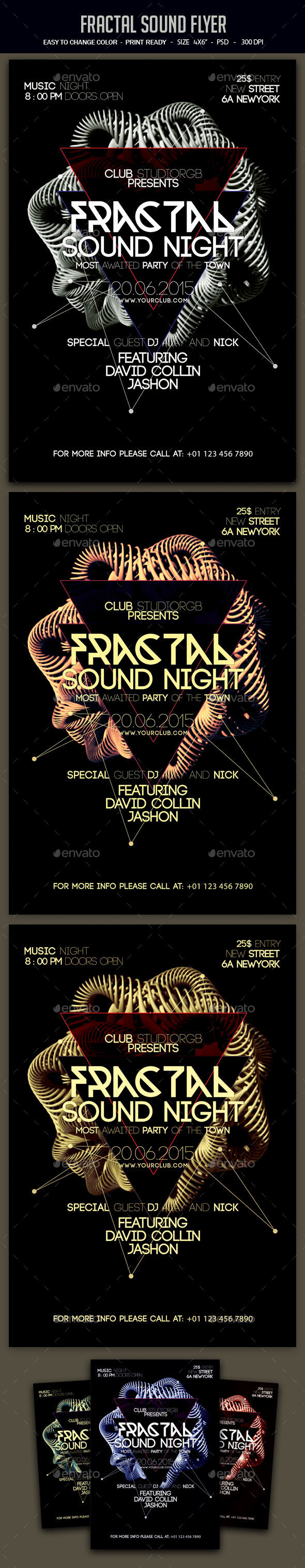 Fractal Sound Flyer - Clubs & Parties Events