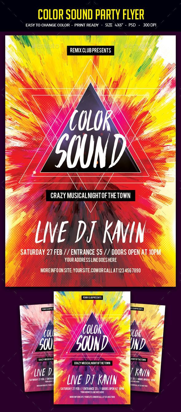 Color Sound Party Flyer - Clubs & Parties Events