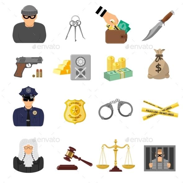Crime and Punishment Flat Icons - Web Technology