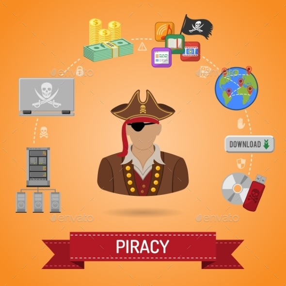 Piracy Concept with Pirate - Web Technology