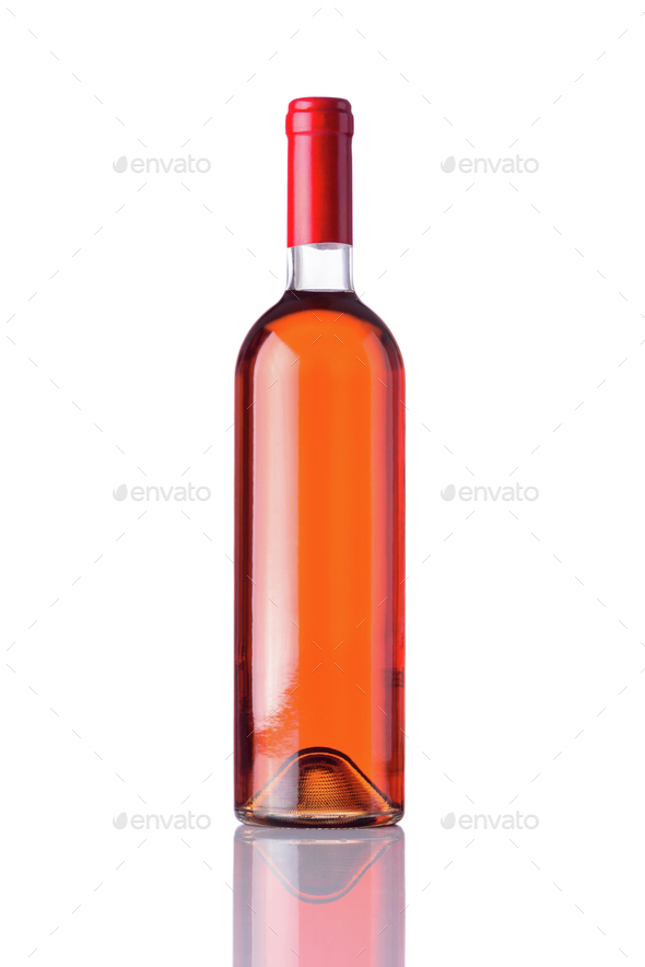 Bottle Rose Wine on White Background - Stock Photo - Images