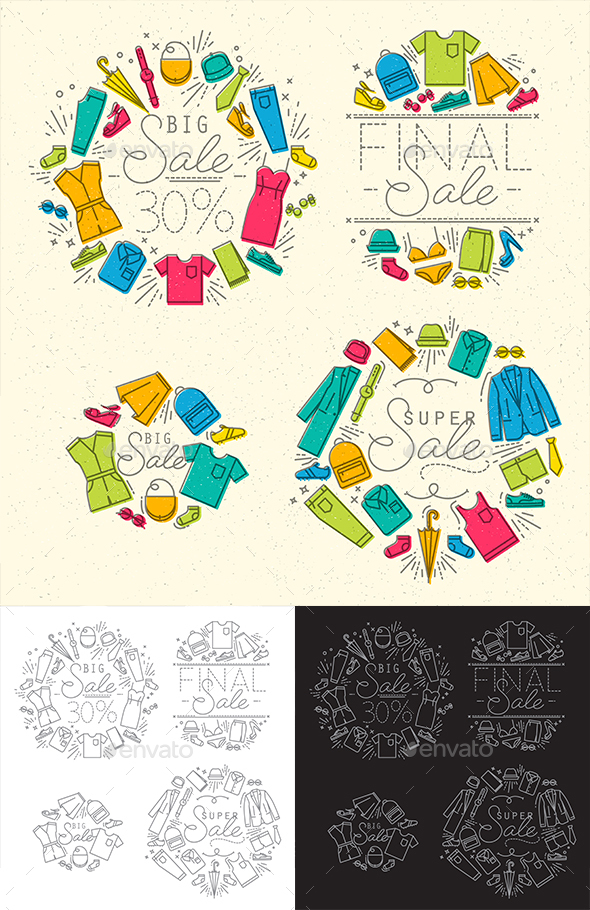 Flat Sale Monograms - Badges & Stickers Web Elements
