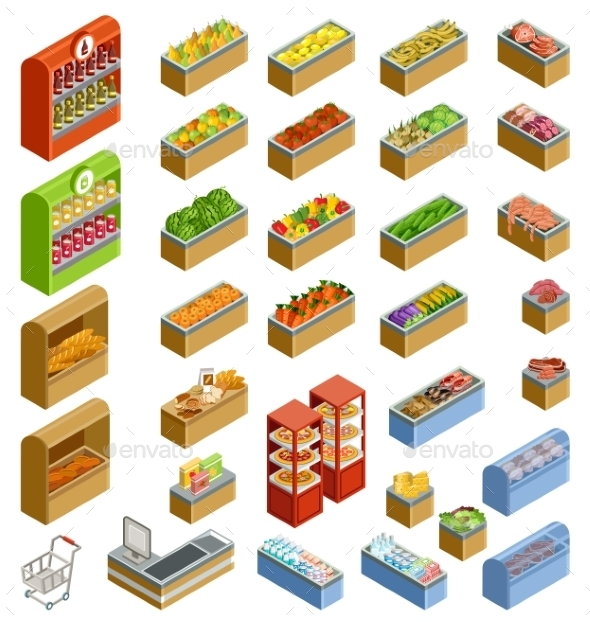 Isometric Counters with Food - Retail Commercial / Shopping